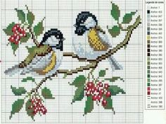 Two birds on a branch cross stitch pattern Cross Stitch,Cross stitch patterns,Ponto cruz, Cross Stitch Bird, Cross Stitch Animals, Cross Stitch Flowers, Cross Stitch Charts, Cross Stitch Designs, Cross Stitching, Cross Stitch Embroidery, Embroidery Patterns, Hand Embroidery