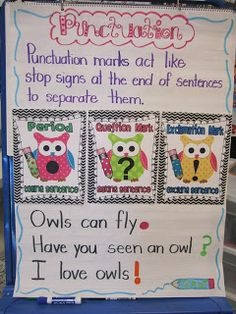 Owl themed punctuation - First Grade Glitter and Giggles: Owl Punctuation--Great idea to use classroom theme (owls) in conjunction with anchor charts and modeled examples! Kindergarten Anchor Charts, Writing Anchor Charts, Kindergarten Writing, Teaching Writing, Teaching Ideas, Teaching Punctuation, Punctuation Posters, Kindergarten Classroom, Owl Theme Classroom