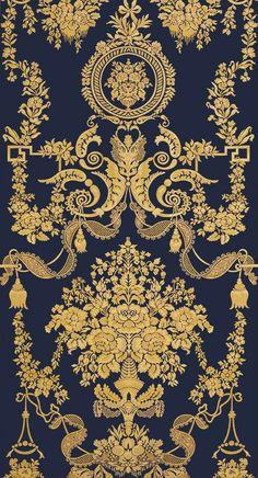 Art Deco Wallpaper, Black Wallpaper, Pattern Wallpaper, Wallpaper Backgrounds, Royal Wallpaper, Luxury Wallpaper, Baroque Pattern, Pattern Art, Pattern Design
