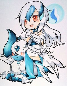 Mega Absol gijinka!!!! This is soo cute!!!X3