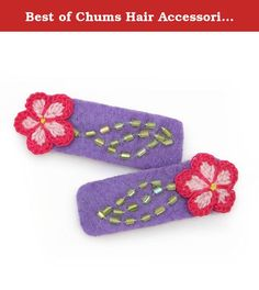 """Best of Chums Hair Accessories Crochet Seasonal Flower Hair Clip (Purple). The Crochet Seasonal Flower Hair Clip comes in a variety of colors, so that you can complement your outfit with the perfect hair accessory no matter what the season is! Two in a pack, these felt hair clips feature hand-crocheted flowers, green or aqua beading embellishment, and a snap clip backing wrapped in satin ribbon. Clip is 1.75"""" wide by 0.5"""" tall. Style is available in bloom, brown, ivory, pink, and purple."""