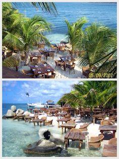 Aruba - The Flying Fishbone seaside restaurant. Dinner with your feet in the ocean. Amazing!