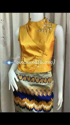 Trendy sewing ideas for teens clothes tank tops ideas Thai Fashion, New Look Fashion, Folk Fashion, Indian Fashion, Myanmar Traditional Dress, Traditional Dresses, Long Blouse, Blouse Dress, Outfits For Teens