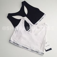 CALVIN KLEIN Cotton Logo Racerback Bralette 2Pk calvin klein  cotton logo racerback bralette 2-pack  † small † 1 white, 1 black † 90% cotton 10% elastane † new with tags  disclaimer: ✗ i do not trade ✗ no lowballing ✓  i'm open to reasonable offers ✓  more savings when you bundle Calvin Klein Intimates & Sleepwear