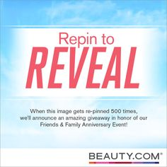 Re-pin 500 times to unlock a fun giveaway opportunity! woohooo