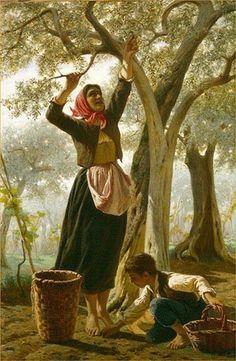 La raccolta delle Olive - Luigi Bechi Aesthetic Theory, Great Paintings, Italian Renaissance, High Art, Italian Art, Michelangelo, Luigi, Art Decor, Harvest