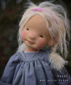 Hazel-Natural Fiber Art Doll by Mon Petit Frère Doll Eyes, Doll Face, Fabric Dolls, Paper Dolls, Little Pet Shop Toys, Doll Tutorial, Waldorf Dolls, Soft Dolls, Diy Doll