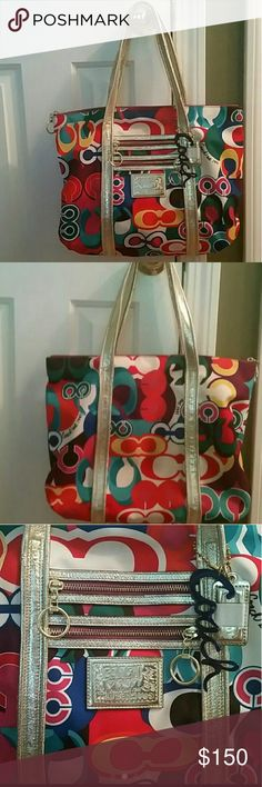 Coach poppy glam Xlarge, bright and colorful, great condition Coach Bags Shoulder Bags
