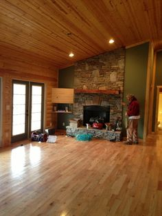 Ceiling floors white beams stained tongue and groove for Log cabin interior paint colors