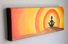Acrylic painting, Meditation art, Sun art, Spiritual painting, Orange art, Yellow art, 4x10 canvas by studio1060art on Etsy