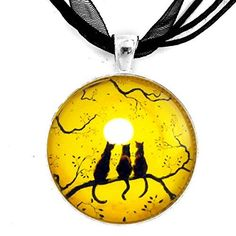 Black Cats Silhouette on Yellow Be My Valentine (for her) Art Pendant Black Ribbon Necklace >>> Find out more about the great product at the image link.