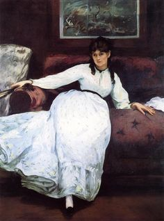 The Rest, portrait of Berthe Morisot, 1870, Museum of Art, Rhode Island, Providence, USA - by Édouard Manet (1832 – 1883), French