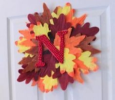 Dollar Store Leaf Wreath