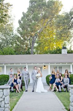 beautiful gray + navy blue bridal party. I am finding that gray (light and dark shades) is very popular with the navy blue dresses.
