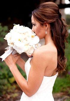 Bride's half up bouffant long down curls bridal hair Toni Kami Wedding…