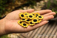 Crochet Flowers Ideas Ravelry: Mini Sunflower pattern by Happy Patty Crochet - Crochet Puff Flower, Crochet Sunflower, Sunflower Pattern, Crochet Flower Patterns, Crochet Designs, Crochet Flowers, Crochet Video, Knit Or Crochet, Crochet Gifts