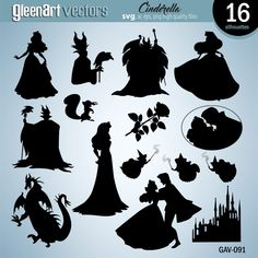 Sleeping Beauty silhouette clipart, Aurora silhouette clipart, Maleficent silhouette clipart, Silhouette files, SVG files, PNG, EPS, Princess Aurora Silhouette, Disney Clipart, Digital Silhouettes, Instant Download This pack contains 18 Sleeping Beauty vector images. This great collection