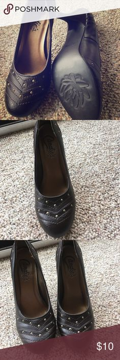 Worn once Candies heels! Dark brown with gold. These are cute and not too high. Never a little too big for me. Size 6. Candie's Shoes Heels