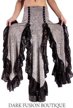 Skirt, Plum Lace with Black Ruffles, Fusion, Noir, Belly Dance, Dark Fusion Boutique. $90.00, via Etsy.