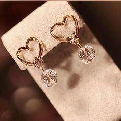 Yang 2016 baru merek fashion jewelry Jatuhkan earring cinta CZ kristal liontin menggantung earrings wanita Boucle D'oreille Femme