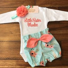 Floral Tee Pee Bloomer Set - Newborn Girl Going Home Outfit #babygirltees
