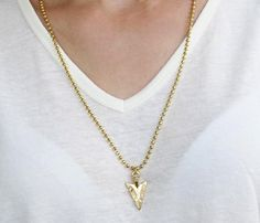 Gold long necklace Gold arrowhead necklace Long by HLcollection
