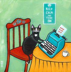 typewriter love | Typewriter Love Original Cat Folk Art Painting by KilkennycatArt