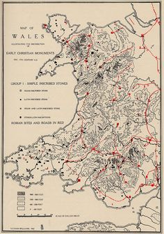 Map of Wales illustrating the distribution of early christian monuments.