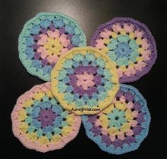 Granny Circle Crochet Coasters Pattern - Available on Craftsy - Link Below.