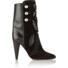 Isabel Marant Liv suede and leather ankle boots (1,680 CAD) ❤ liked on Polyvore featuring shoes, boots, ankle booties, black, black suede bootie, black high heel booties, black cowboy boots, high heel ankle boots and black cowgirl boots