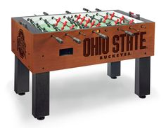 We are proud to offer this Officially Licensed Ohio State University Foosball table. The playfield is regulation size and is competition ready with built in trim. Ground, plated, and polished high Ten