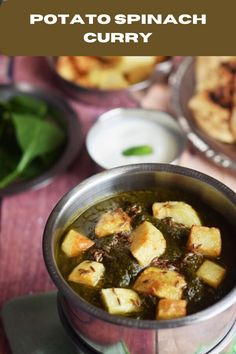 Aloo Palak potato and spinach curry that is amazingly tasty and healthy. You can use cottage cheese instead of potatoes and then it becomes palak paneer. Vegetarian Platter, Vegetarian Recipes, Healthy Recipes, Aloo Palak Recipe, Deep Fried Recipes, Potato Gravy, Spinach Curry, Indian Food Recipes, Ethnic Recipes