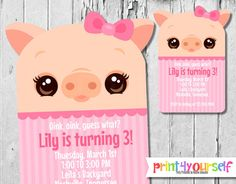 Personalized Kawaii Pig Girl Invitation by Print4Yourself on Etsy