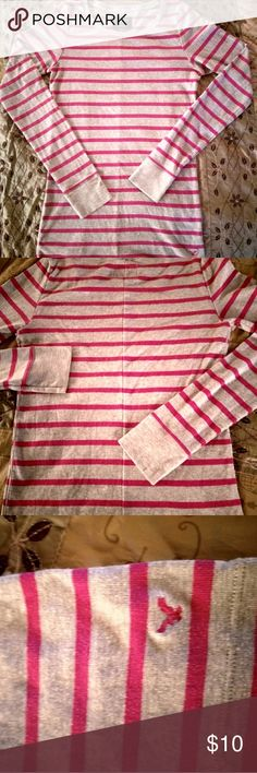American Eagle Outfitters long sleeve top Soft long sleeve cotton/polyester blend/grey with pink stripes/size M American Eagle Outfitters Tops