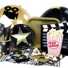 Menaje y decorados para una fiesta cine - de www.fiestafacil.com,