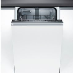 Slot this Bosch slimline fully integrated dishwasher into compact spaces to save room in small kitchens. Slimline Dishwasher, Portable Dishwasher, Black Dishwasher, Stainless Steel Dishwasher, Kitchen Board, New Kitchen, Washing Dishes, Kitchen On A Budget, Kitchen Flooring