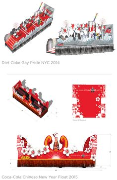 Parade Float Designs:  1. Diet Coke NYC Pride 2014  2. Coca-Cola Chinese NewYear 2015