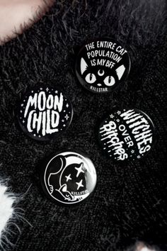 "BADGE UP. DIY yer life with these badass pin-badges. - 4 per pack.- 1"" Wide.- Mounted On Card. Funny and graphic pins, ideal for decorating jackets, bags, jeans"