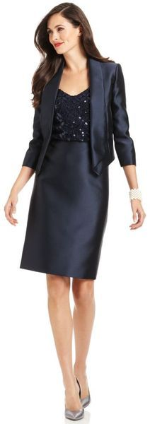 Tahari Skirt Suit in Blue - Lyst