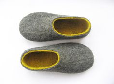 Items similar to Felt boots, women home shoes, gray yellow, bedroom slippers with soles - cork or rubber on Etsy Silver Slippers, Felt Boots, Wool Shoes, Bedroom Slippers, Grey Yellow, Gray, Wool Felt, Felted Wool, Felted Slippers