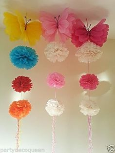 party hanging ceiling decorations tissue paper pom poms birthday party in Home, Furniture & DIY, Celebrations & Occasions, Party Supplies Paper Pom Poms, Tissue Paper Flowers, Paper Butterflies, Diy Flowers, Papel Tissue, Tissue Garland, Tulle Poms, Tulle Tutu, Beautiful Butterflies