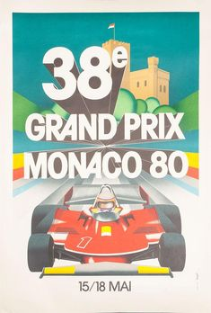 GROGNET, J. Lithograph after the original, reproduced by the Automobile Club de Monaco, printed in Paris, 1000 x 680 mm. Grand Prix, Vintage Posters, Monaco, Automobile, Prints, Poster Vintage, Car, Motor Car, Autos