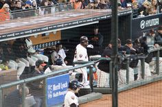 Giants dugout during the game.