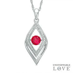 Zales 5.0mm Heart-Shaped Lab-Created Ruby and Diamond Accent Bar Necklace in Sterling Silver lXLzjMHQR