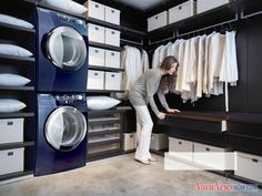 The washer and dryer IN the closet. The Ultimate Family Closet and Laundry Room Laundry Closet, Laundry Room Storage, Laundry Room Design, Small Laundry, Basement Laundry, Laundry Area, Closet Storage, Ikea Laundry, Laundry Chute