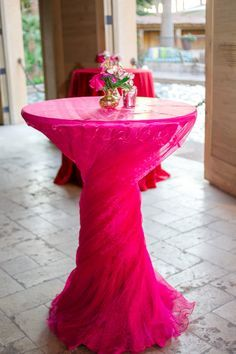 Discover thousands of images about Valentine's Love - Fuchsia Pleated Cocktail Table Linen Cocktail Table Decor, Cocktail Tables, Wedding Table Linens, Wedding Chairs, Reception Decorations, Event Decor, Table Decorations, Cocktail Wedding Reception, Wedding Receptions