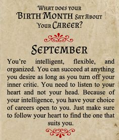 What does your Birth Month say about your Career? - Born in September