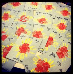 """Today's """"You are my sunshine"""" craft (4/8). Love how they turned out!"""