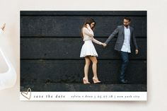 """""""Oh My Heart"""" - Classical, Simple Save The Date Cards in Goldenrod by Bethan."""
