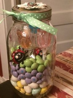 Spring themed jar with candy